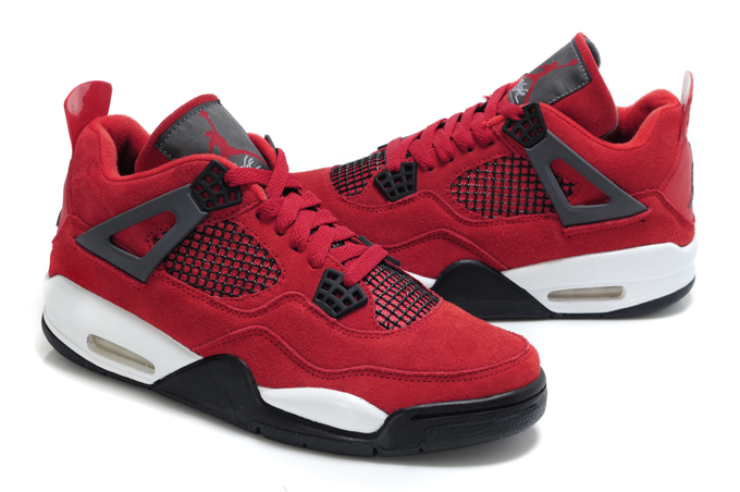 Air Jordan 4 Suede Red White Black Bulls Edition