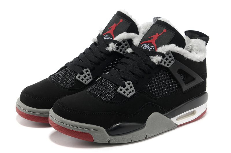 New 2012 Wool Air Jordan 4 Black Grey Red Shoes