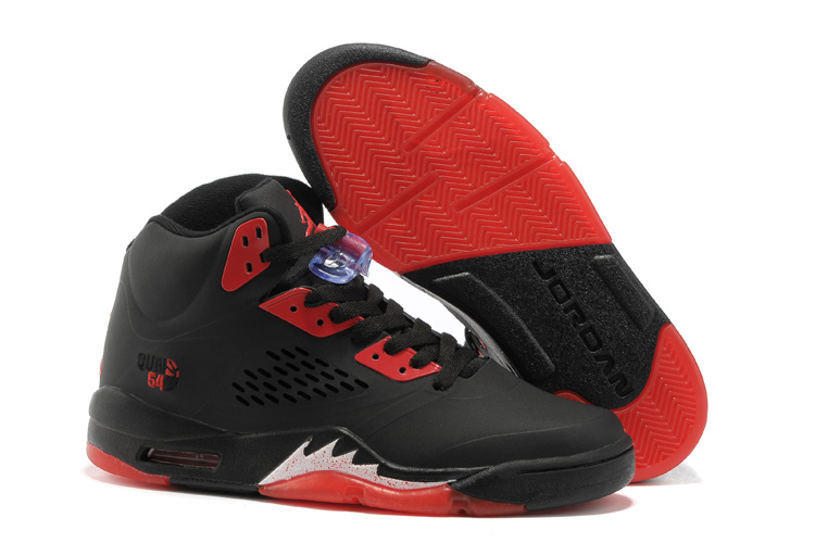 New Air Jordan 5 Black Fire Red Shoes For Womens