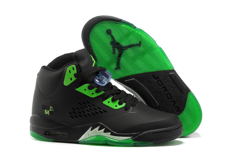 New Air Jordan 5 Black Green Shoes