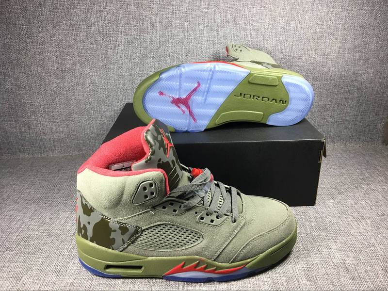2017 Jordan 5 Camouflage Green Shoes