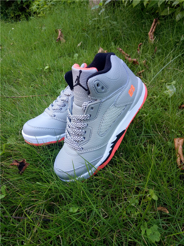 2016 Jordan 5 Retro Grey White Pink Shoes For Kids