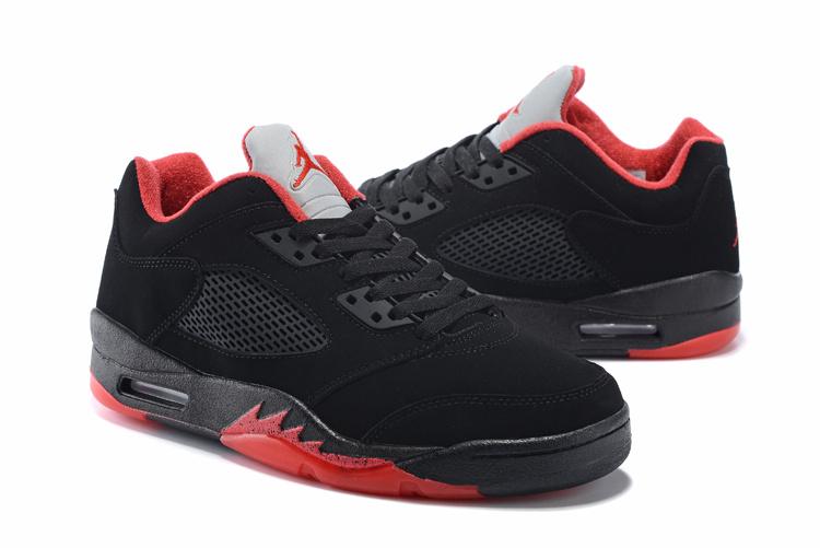 Latest Air Jordan 5 Low Retro Black Red Shoes