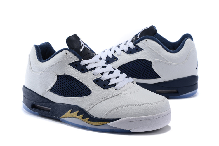 Latest Air Jordan 5 Low Retro White Blue Shoes