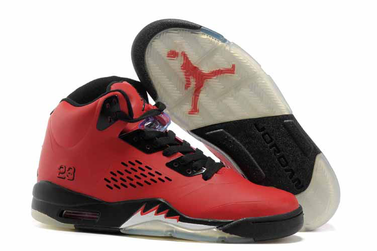 New Air Jordan 5 Red Black Shoes For Womens