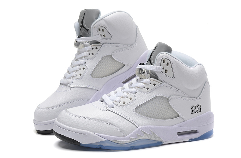 2015 Air Jordan 5 Retro All White Baby Blue Shoes