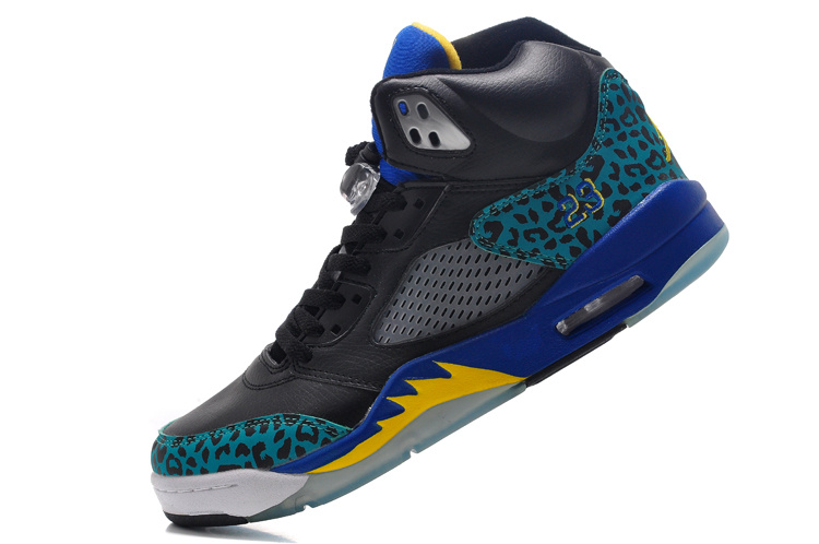 2016 Jordan 5 Black Blue Fire Yellow Shoes