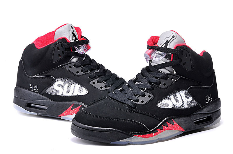New Air Jordan 5 SUP Black Red Shoes For Kids