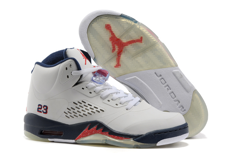 New Air Jordan 5 White Blue Fire Red Shoes For Womens