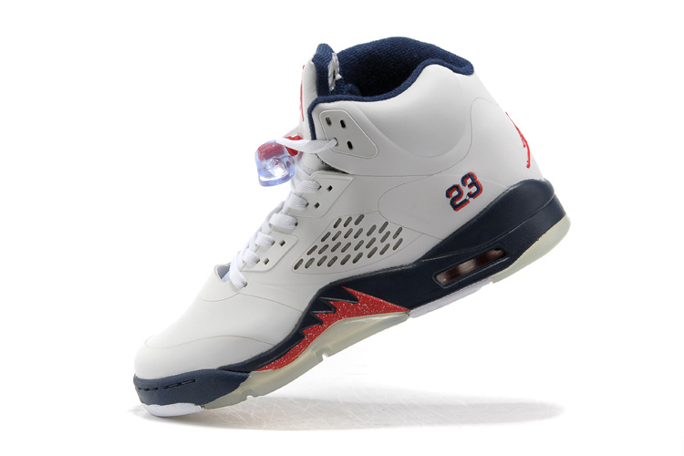 New Air Jordan 5 White Blue Fire Red Shoes