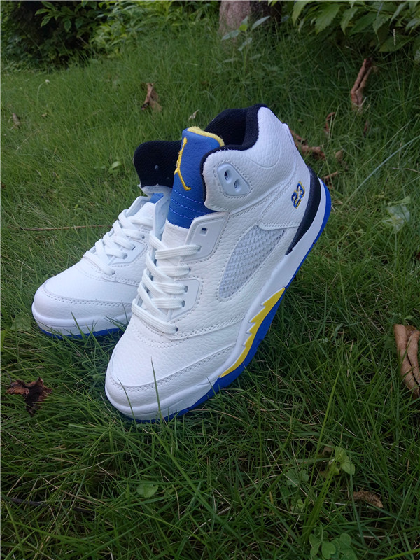 2016 Jordan 5 Retro White Blue Yellow Shoes For Kids