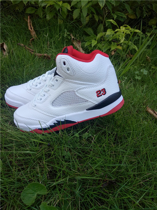 2016 Jordan 5 Retro White Red Black Shoes For Kids