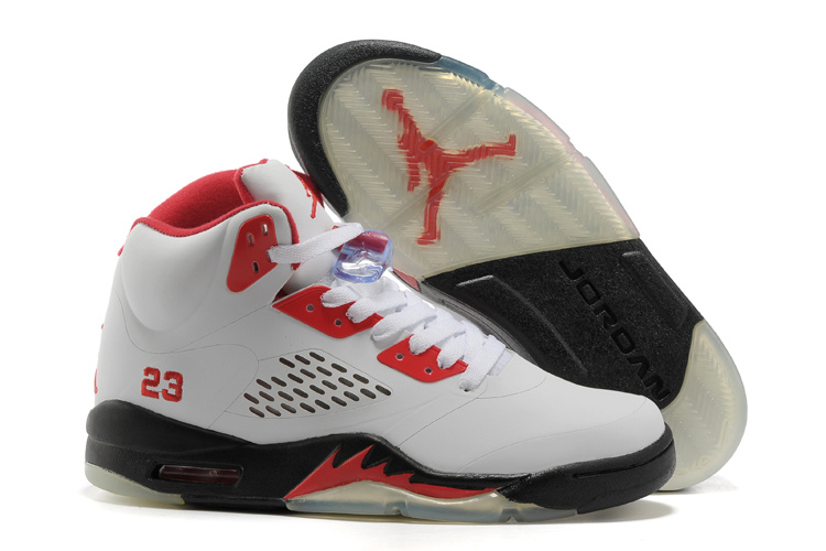 New Air Jordan 5 White Red Black Shoes