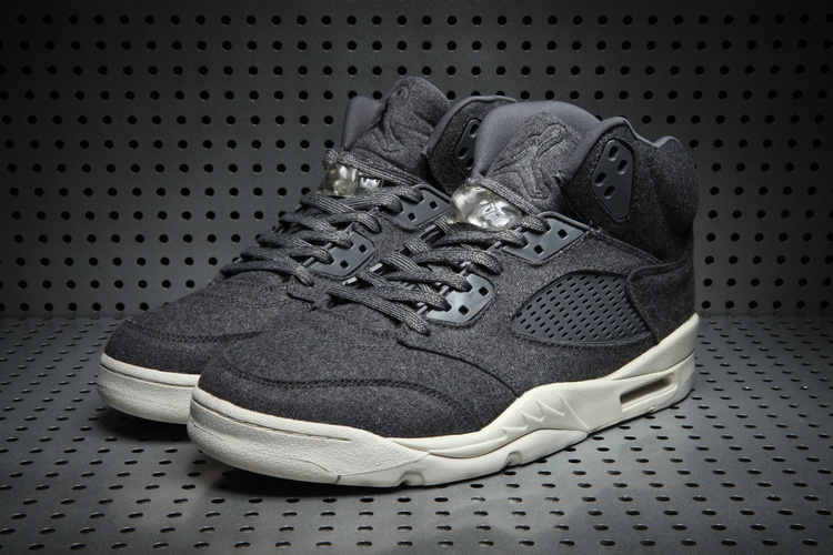 2017 Jordan 5 Wool Black White Shoes