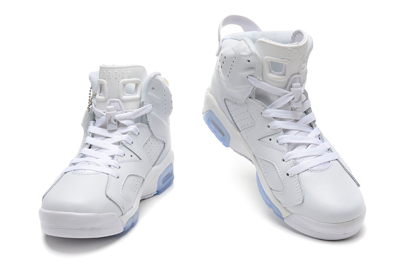 2015 New Jordans 6 All White Light Blue Sole
