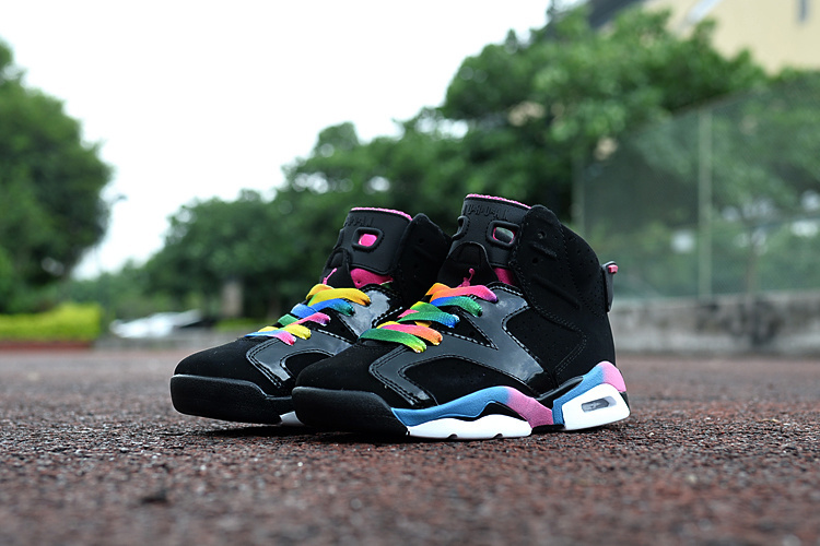 2016 Jordan 6 Retro Black Colorful For Kids