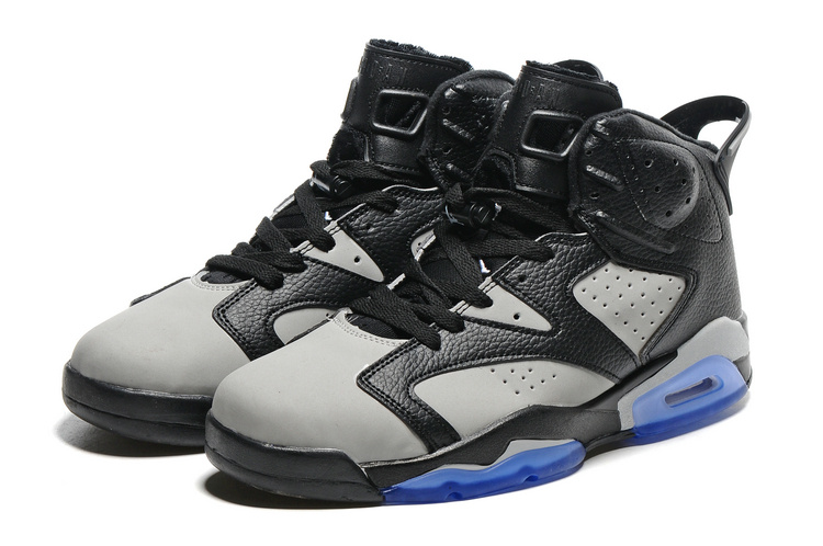 2016 Retro Air Jordan 6 Retro Black Grey Blue Sole Shoes