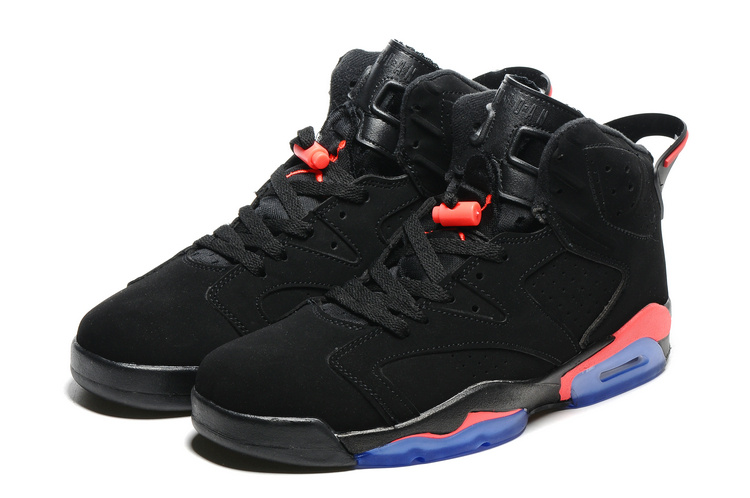 2016 Retro Air Jordan 6 Retro Black Red Blue Sole Shoes