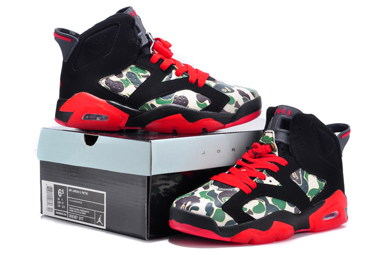 2015 New Black Red Monkey Head Print Air Jordan 6 For Women