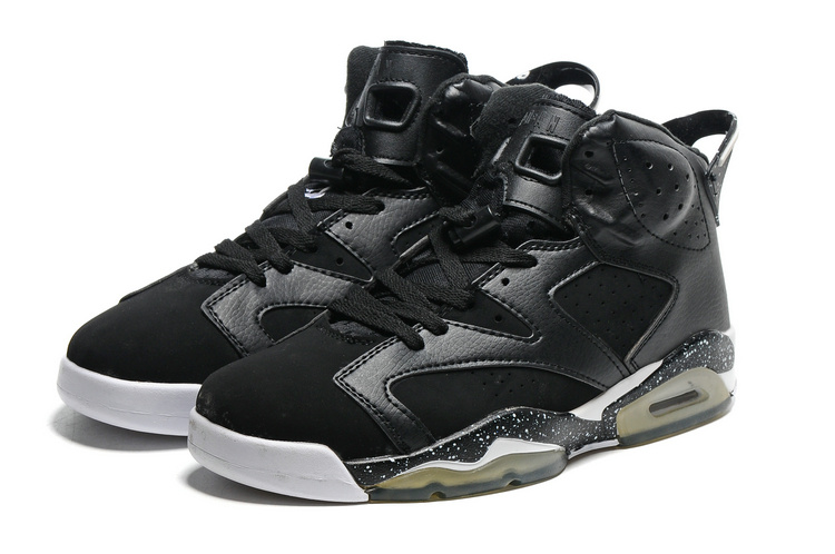 2016 Retro Air Jordan 6 Retro Black White Transparent Sole Shoes