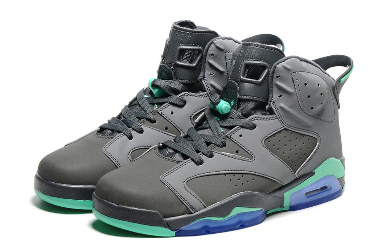 2016 Retro Air Jordan 6 Retro Grey Green Blue Sole Shoes