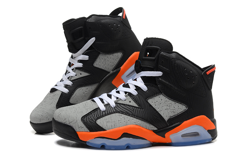 2015 New Jordans 6 Retro Black Grey Orange