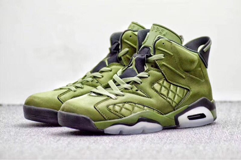 2017 Jordan 6 Retro Flying Jacket Green Black Shoes