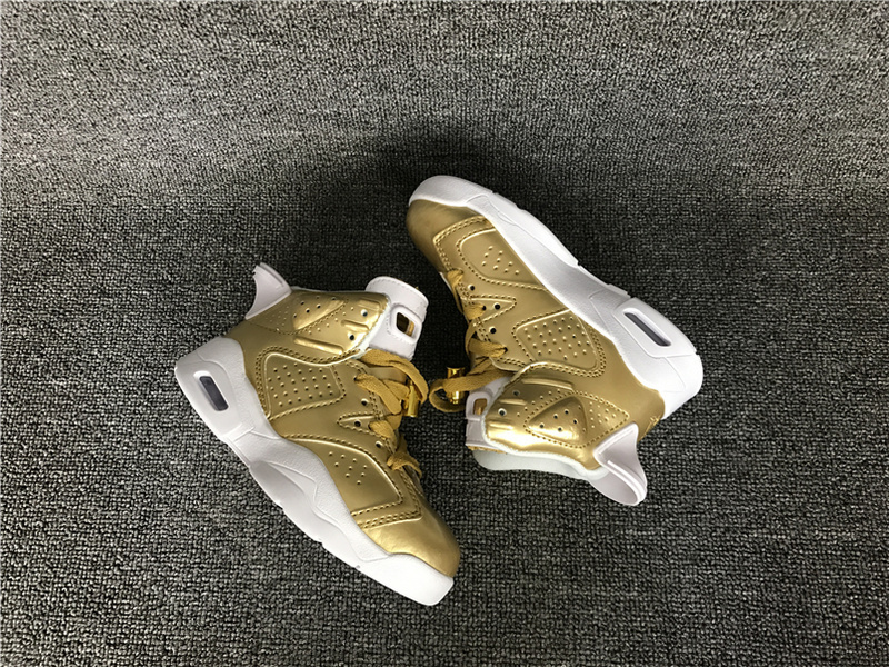 2016 Jordan 6 Retro Gold White Shoes For Kids