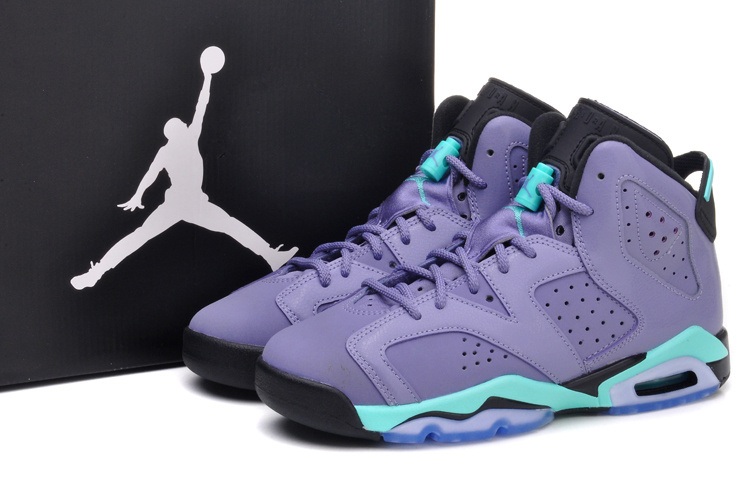 2015 New Light Purple Green Black Air Jordans 6 Retro