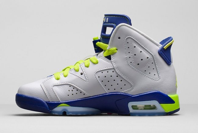 New Women Jordans 6 Retro White Blue Green