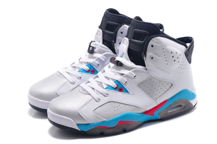 2015 New Jordans 6 Retro White Blue Red Black