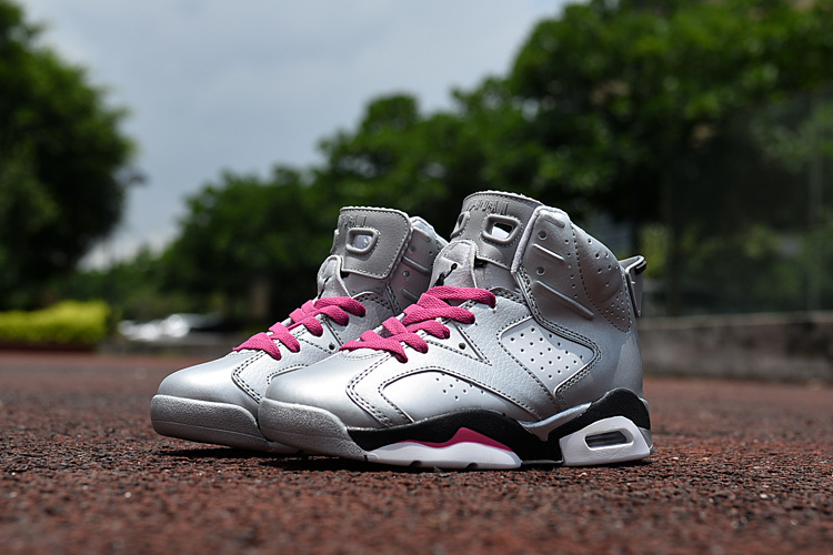 2016 Jordan 6 Retro Silver Pink Black Shoes For Kids
