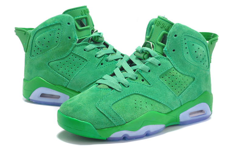 2015 Air Jordan 6 Suede Green Women Shoes
