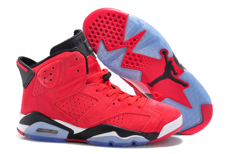 2015 Air Jordan 6 Suede Red Black Lover Shoes
