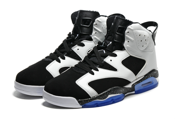 2016 Retro Air Jordan 6 Retro White Black Blue Sole Shoes