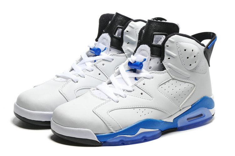2016 Retro Air Jordan 6 Retro White Blue Sole Shoes