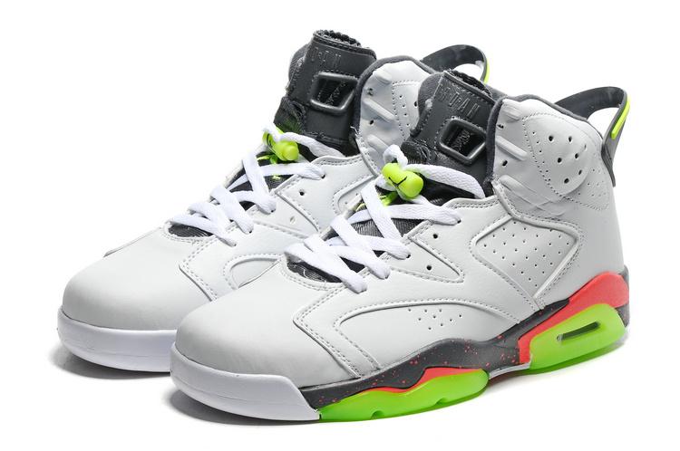 2016 Retro Air Jordan 6 Retro White Grey Fluorscent Green Sole Shoes