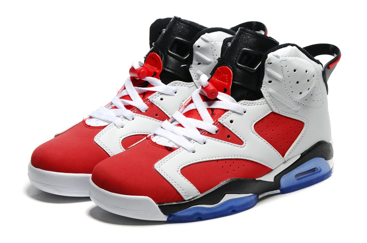 2016 Retro Air Jordan 6 White Red Black Blue Sole Shoes