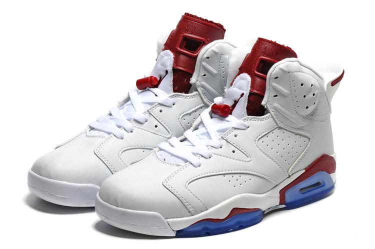 2016 Retro Air Jordan 6 Retro White Wine Red Blue Sole Shoes