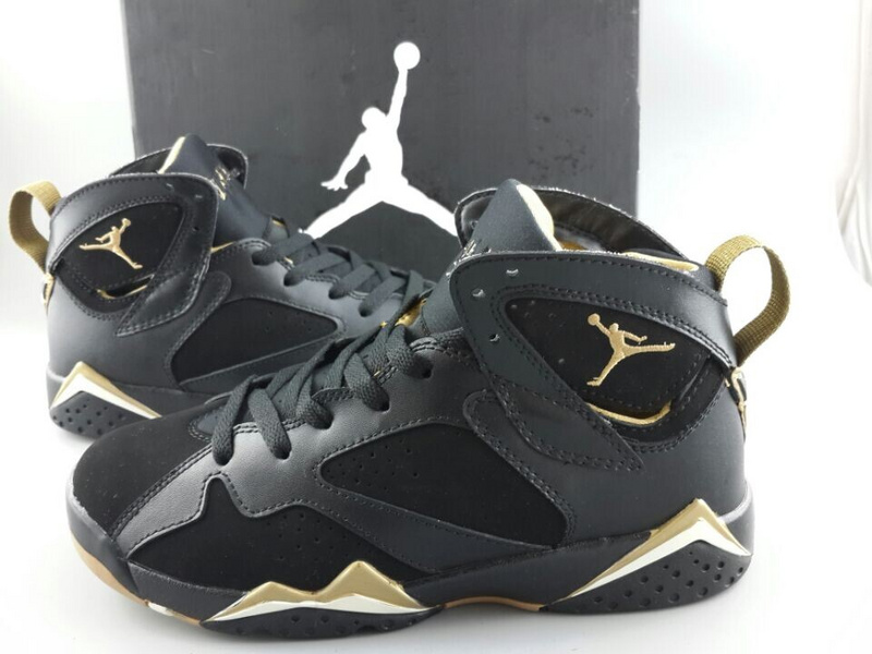 2015 New Woemn Jordans 7 Black Gold