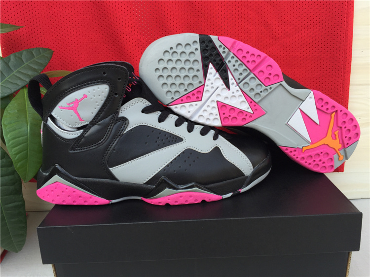 New Air Jordan 7 Black Grey Pink Shoes For Women