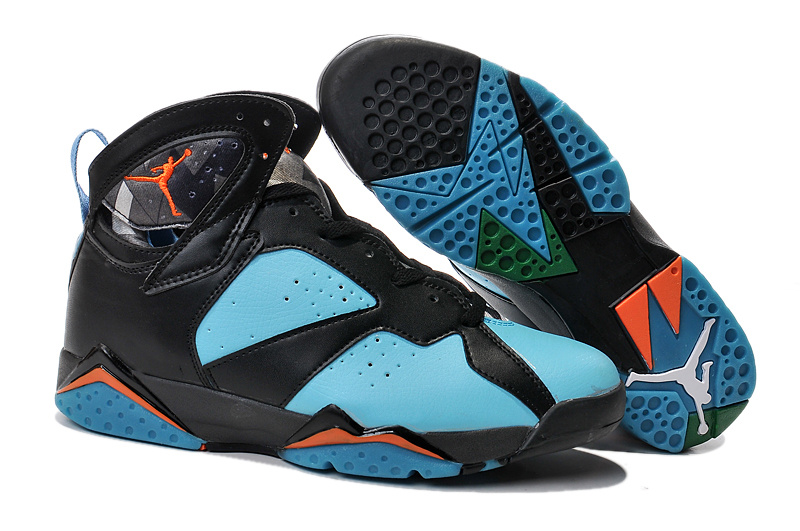 2015 Air Jordan 7 Retro Black Green Orange Shoes