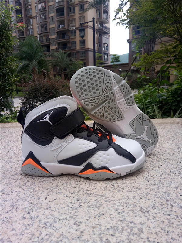 2016 Jordan 7 Retro Black White Orange Shoes For Kids