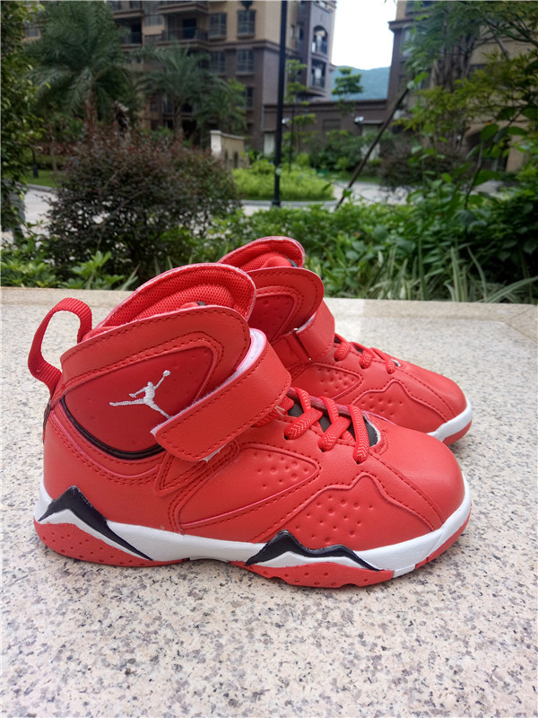 2016 Jordan 7 Retro Red Black White Shoes For Kids