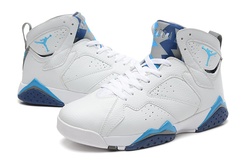 New White Baby Blue Jordans 7 Retro