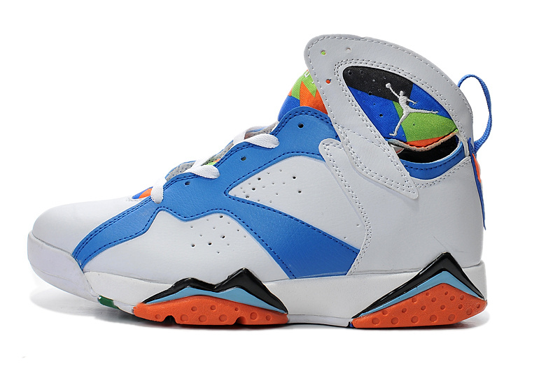 2015 Air Jordan 7 Retro White Blue Orange Shoes