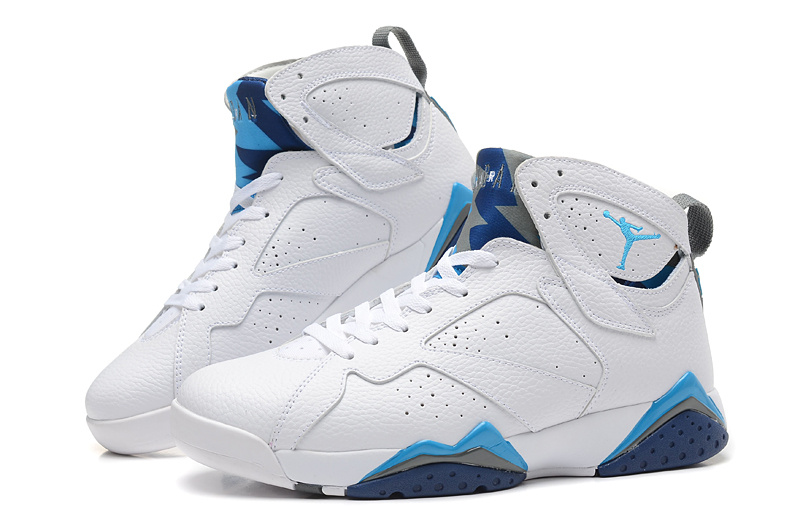 2015 New Jordans 7 Retro White Blue