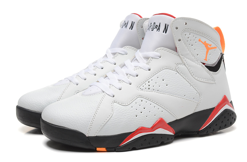 2015 New Jordans 7 Retro White Orange Red Black