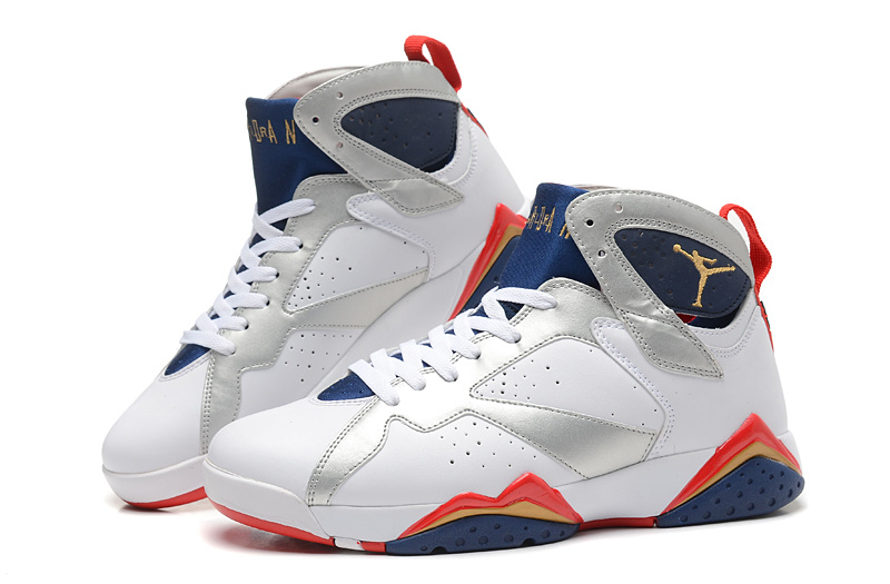 2015 New White Silver Blue Red Jordans 7 Retro