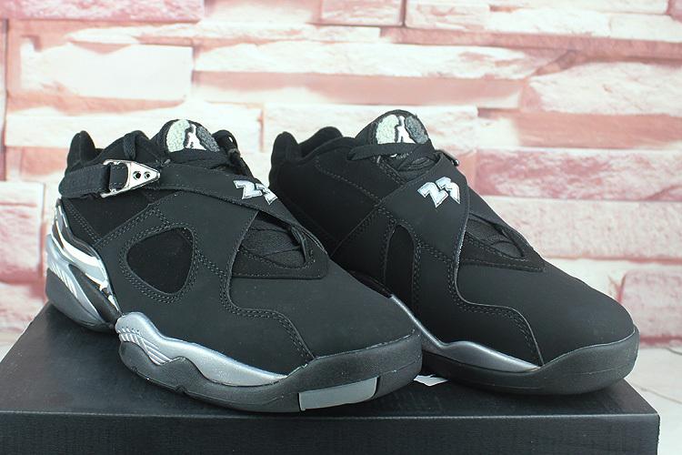 2016 Air Jordan 8 Retro Low Black Silver Shoes